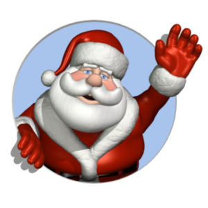 Santa waving about packages are for local clients.